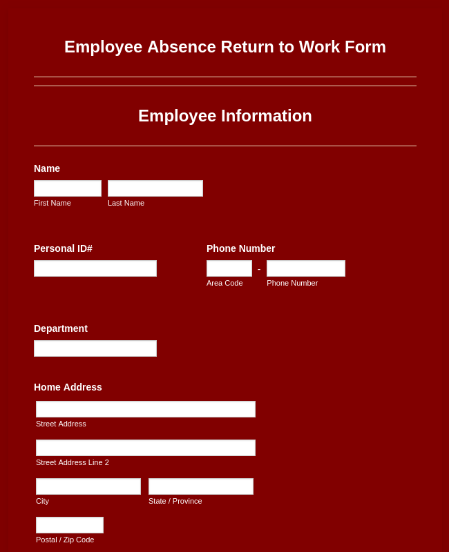 Employee Absence Return To Work Form
