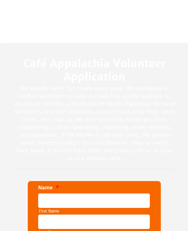Café Appalachia Volunteer Application