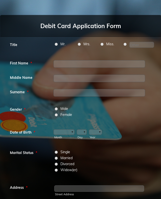 Debit Card Application Form