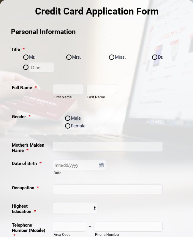 Credit Card Application Form