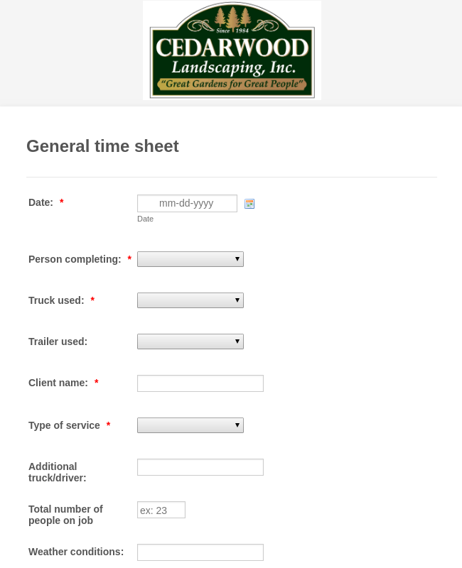 Landscaping General Time Sheet
