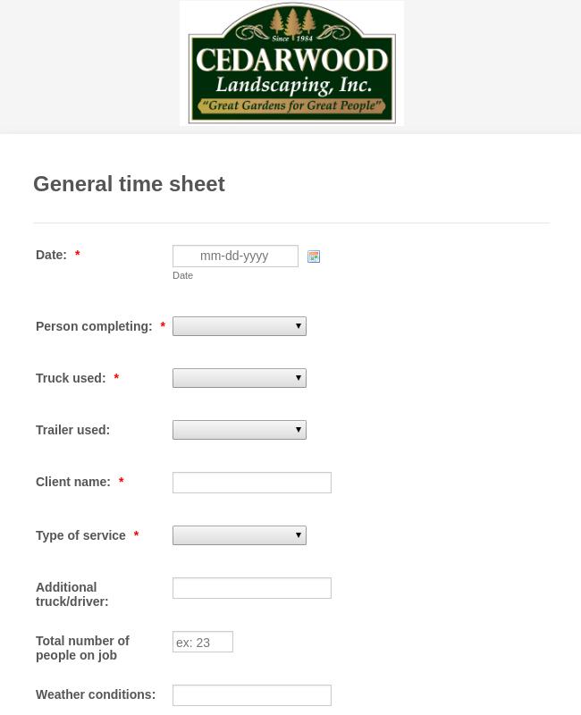 Landscaping General time sheet