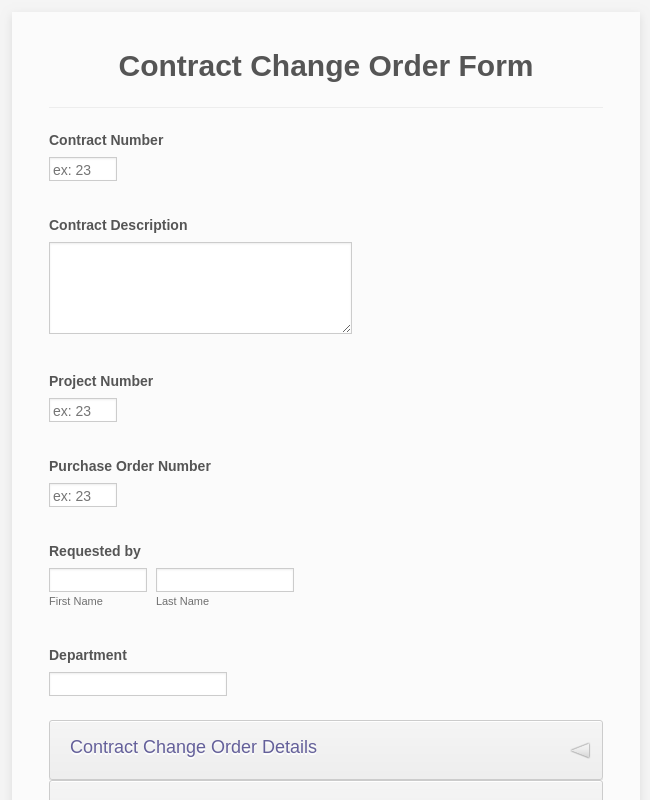 Contract Change Order Form