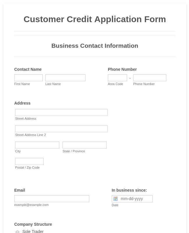Customer Credit Application Form