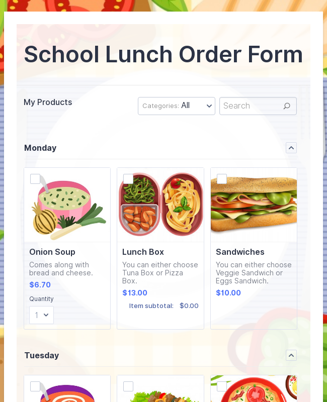 School Lunch Order Form