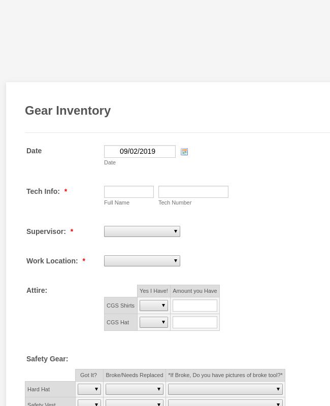 Gear Inventory