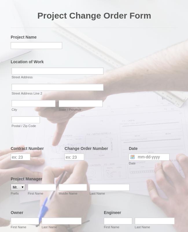 Project Change Order Form