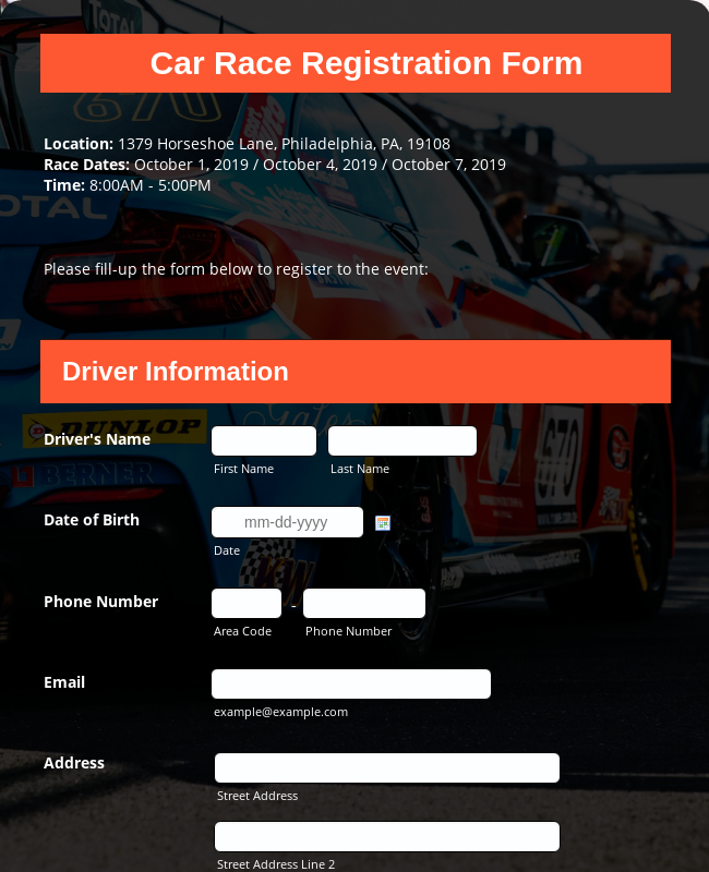 Car Race Registration Form