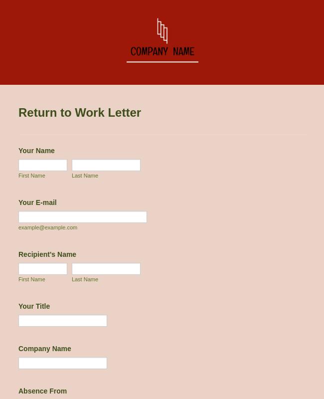 Return To Work Letter