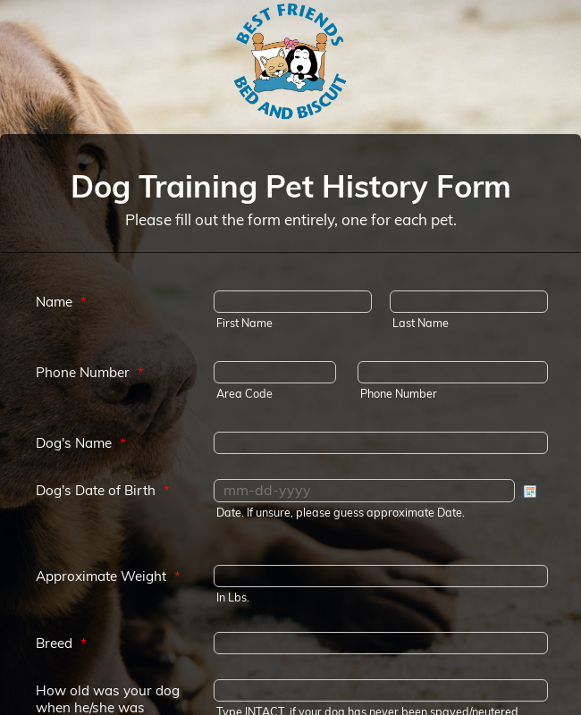 Dog Training Pet History Form