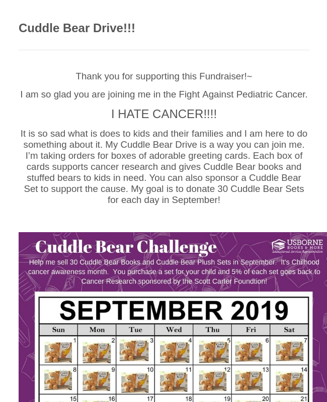 Cuddle Bear Drive!!!