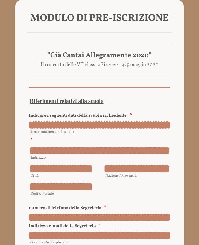 """Clone of Modulo di Pre-iscrizione """"Già Cantai Allegramente 2020"""""""