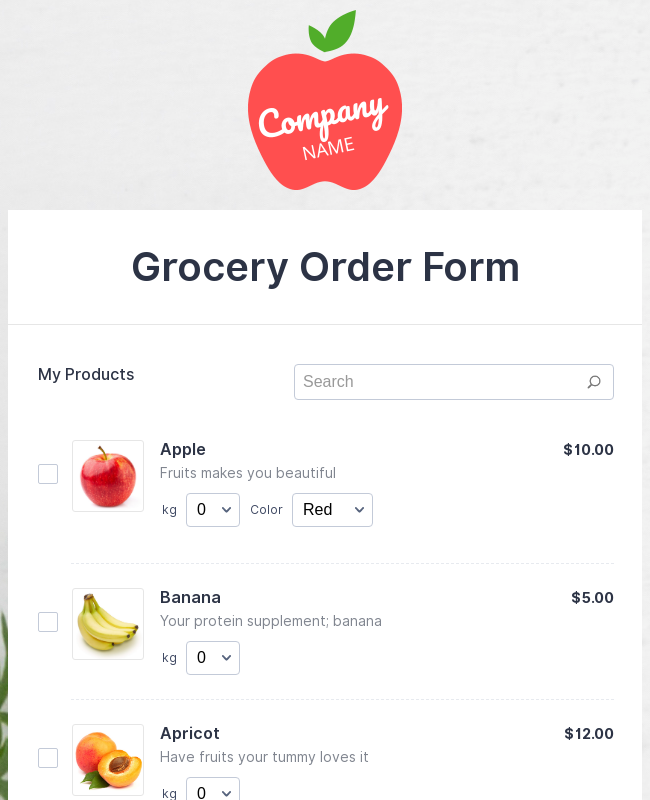 Grocery Order Form