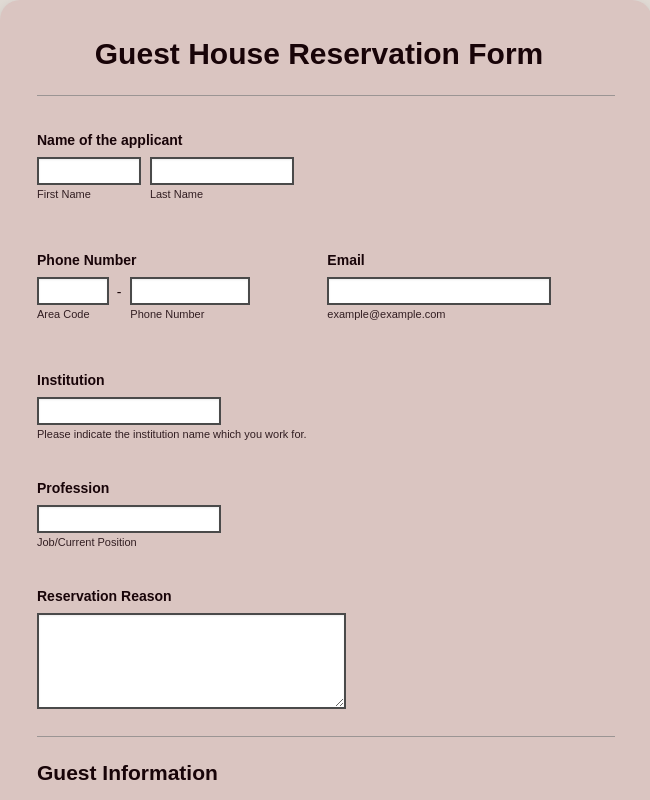 Guest House Reservation Form