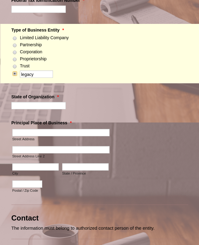 Business Entity Registration Form