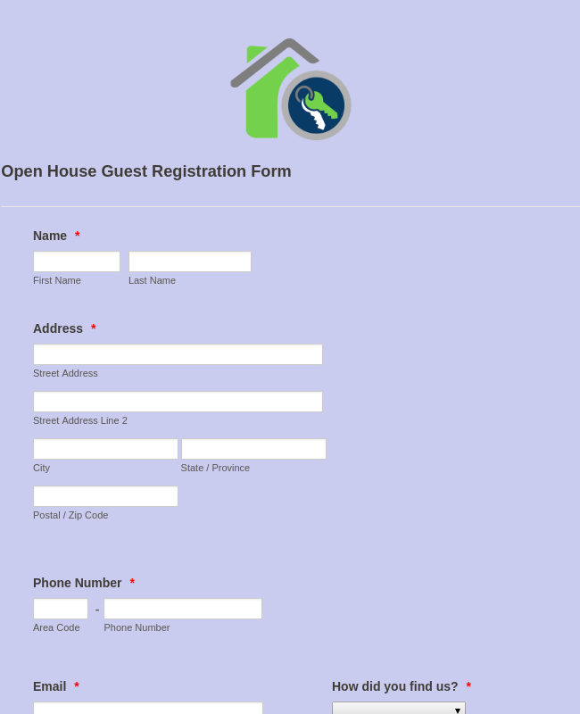 Open House Guest Registration Form