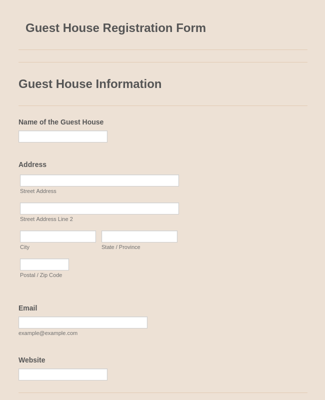 Guest House Registration Form