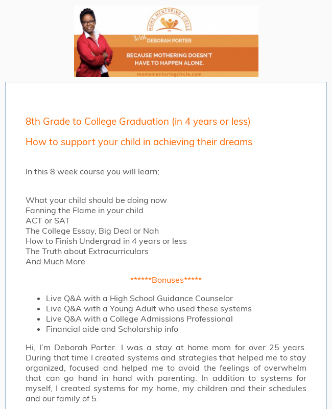 Moms Mentoring Course Application