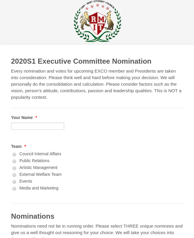 SIM-RMITSC Executive Committee Nomination