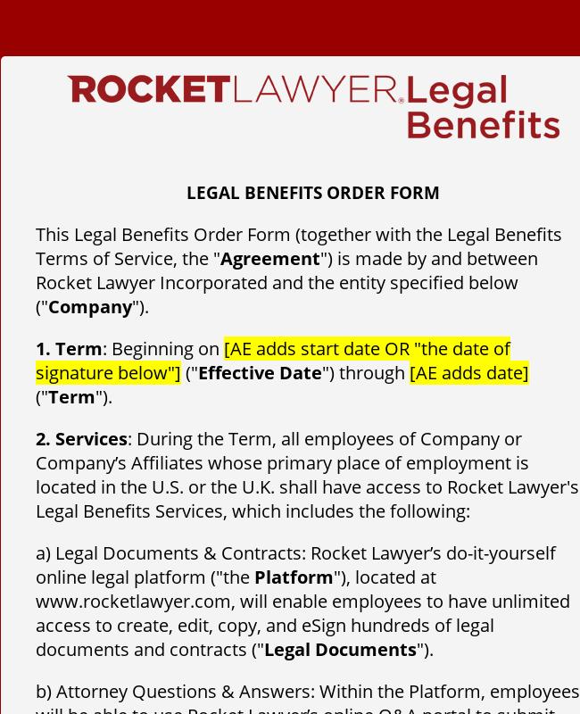 Renewal Order Form Template
