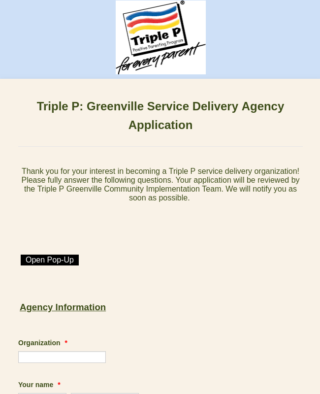 Triple P Parenting Program: Greenville Agency Application