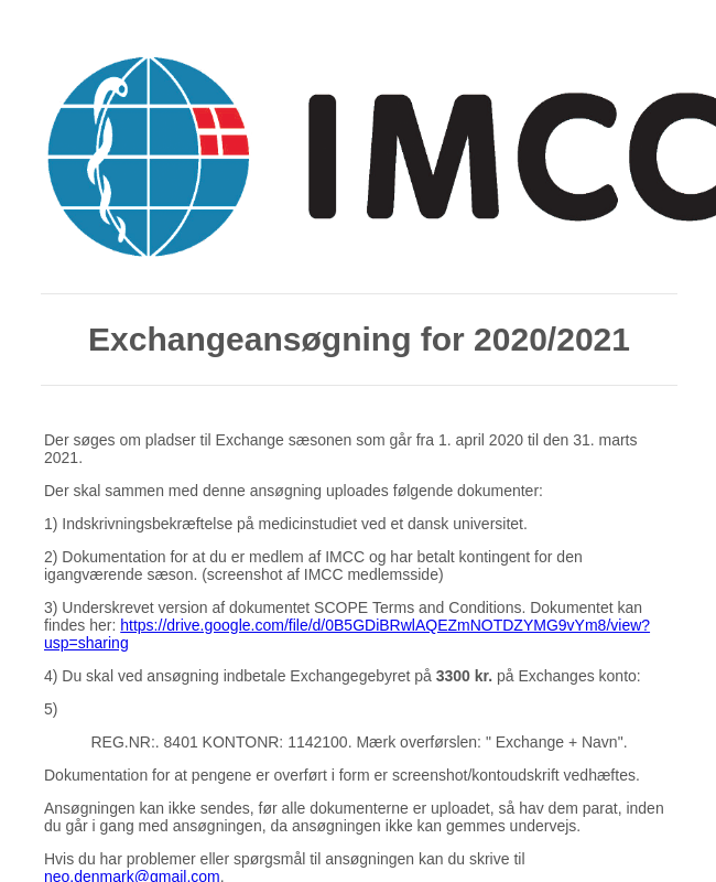 Exchange Ansøgning 2020/2021