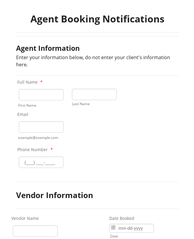 Travel Agent Booking Form