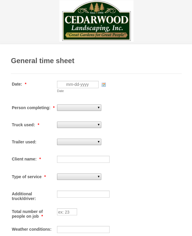 Cedarwood Landscaping General time sheet