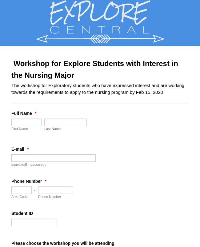 Nursing Program Workshop Registration Form