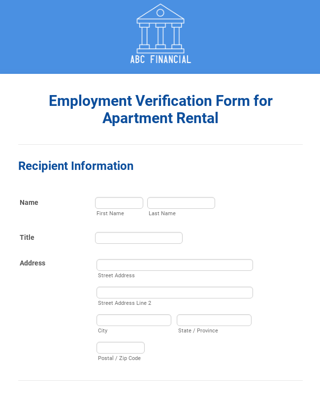 Employment Verification Form For Apartment Rental