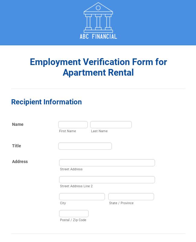 Employment Verification Form for Apartment Rental