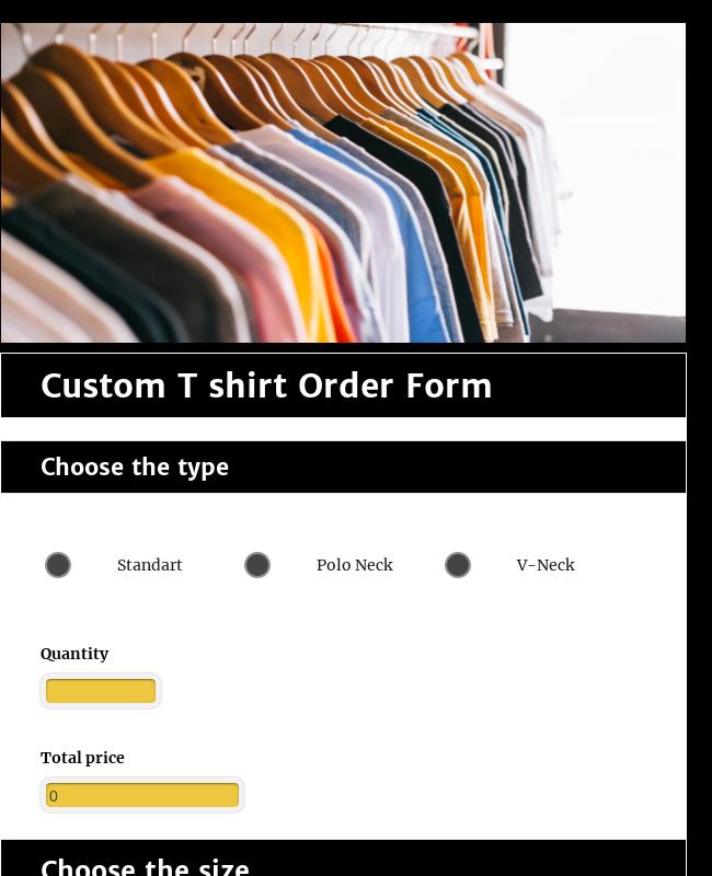 Custom T Shirt Order Form Template