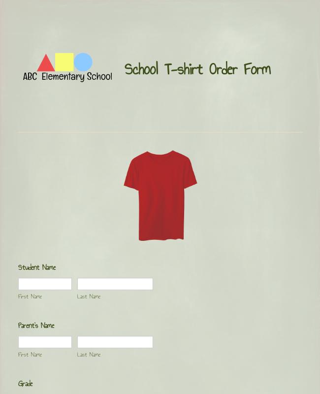 School T-Shirt Order Form