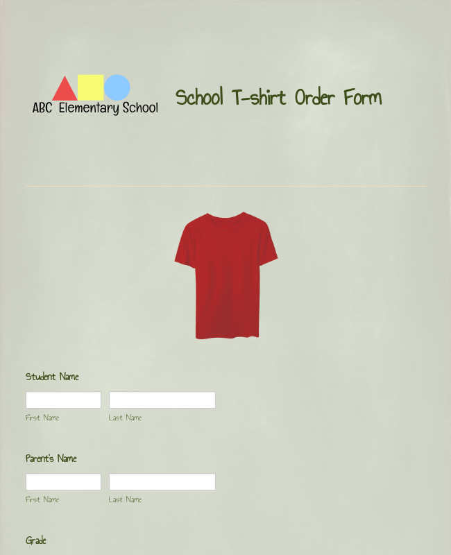 School T-Shirt Order Form