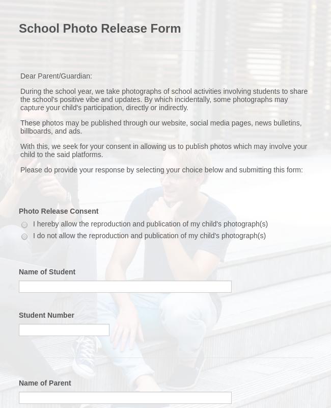 School Photo Release Form