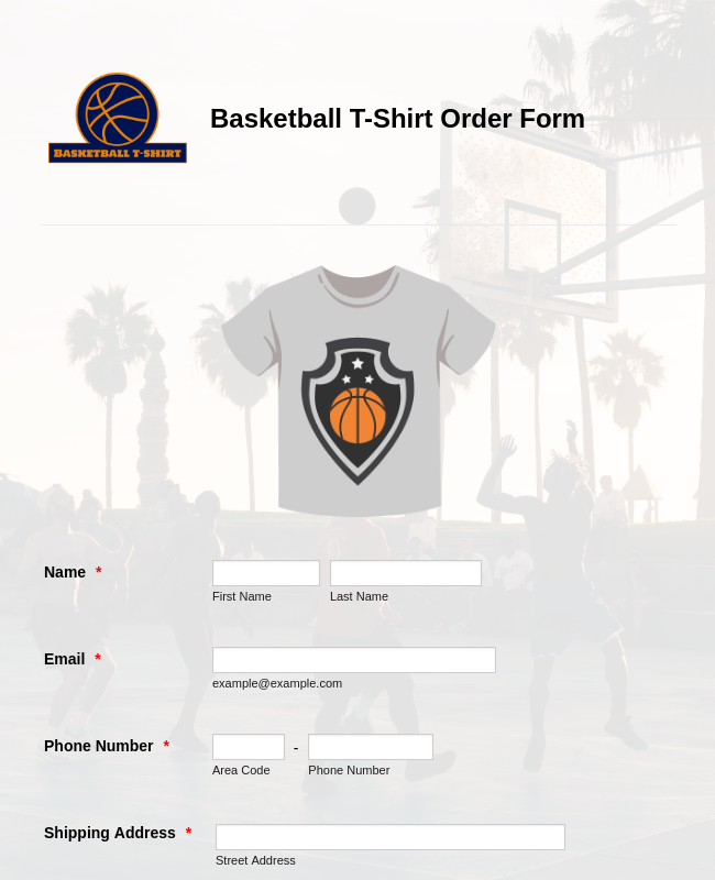 Basketball T-Shirt Order Form