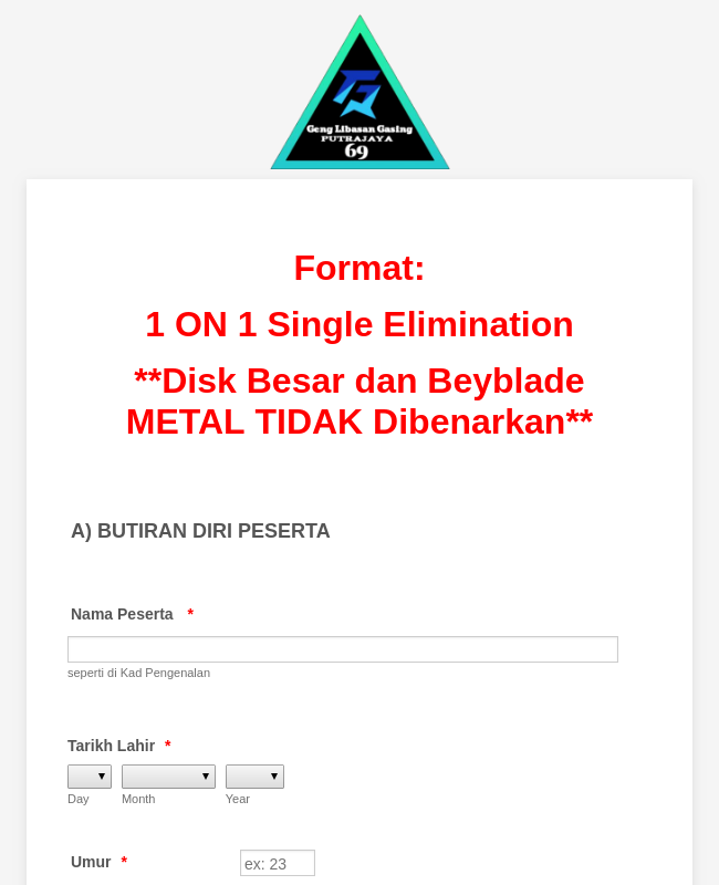 Beyblade Contest Entry Form In Malay