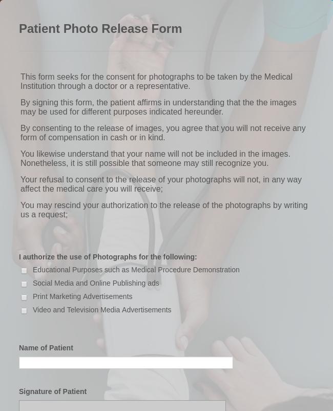 Patient Photo Release Form