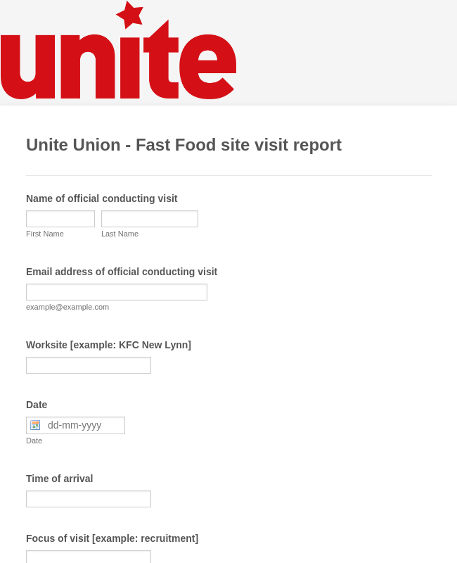 Unite Union - Fast Food site visit report [Template]