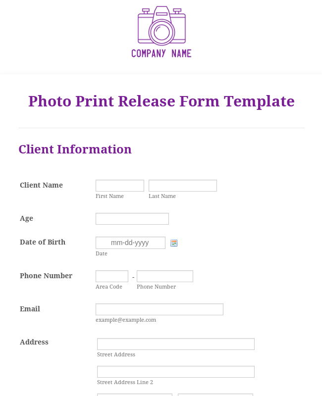 Photo Print Release Form Template