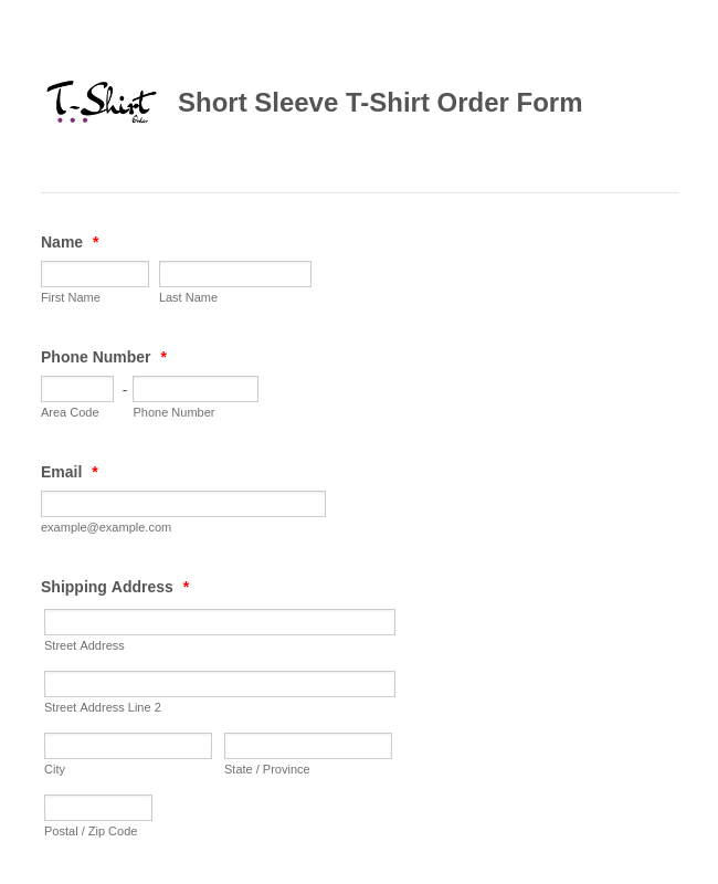 Short Sleeve T-Shirt Order Form