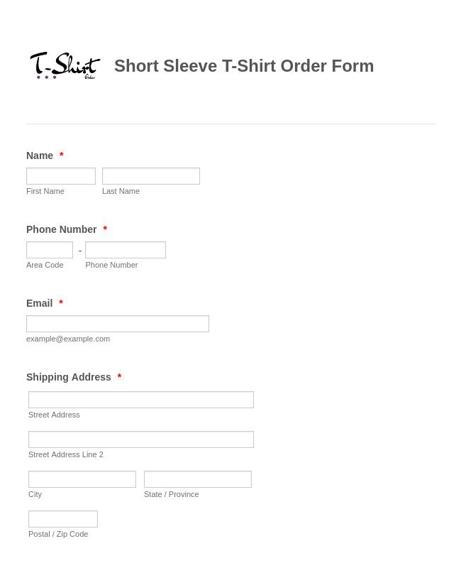 Short Sleeve T-Shirt Order Form