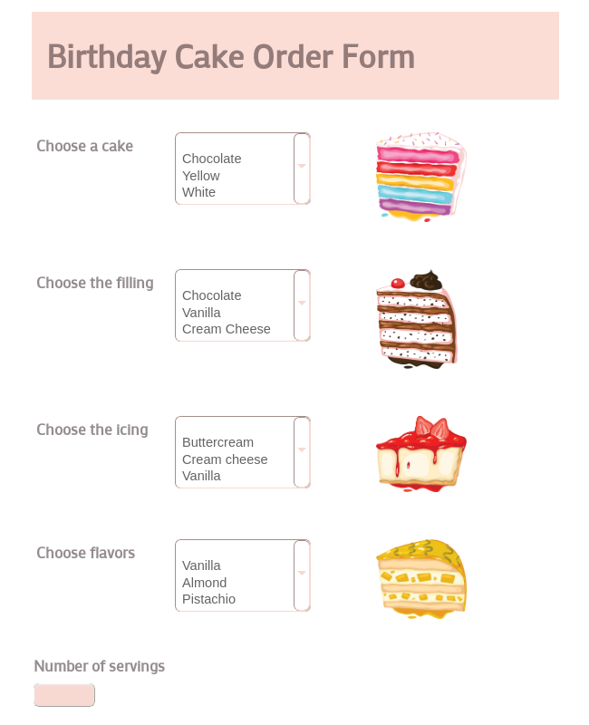 Birthday Cake Order Form