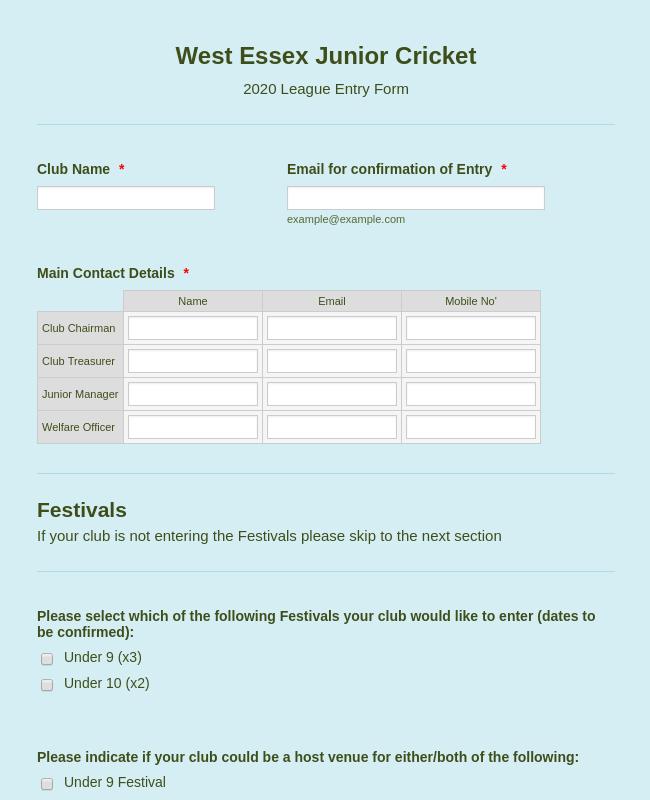 Junior Cricket League Entry Form