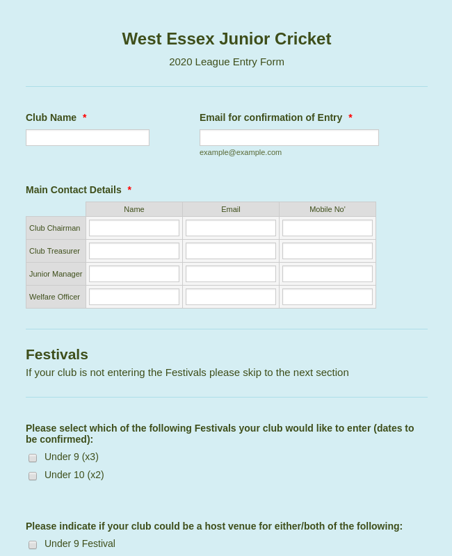 Junior Cricket League Entry Form