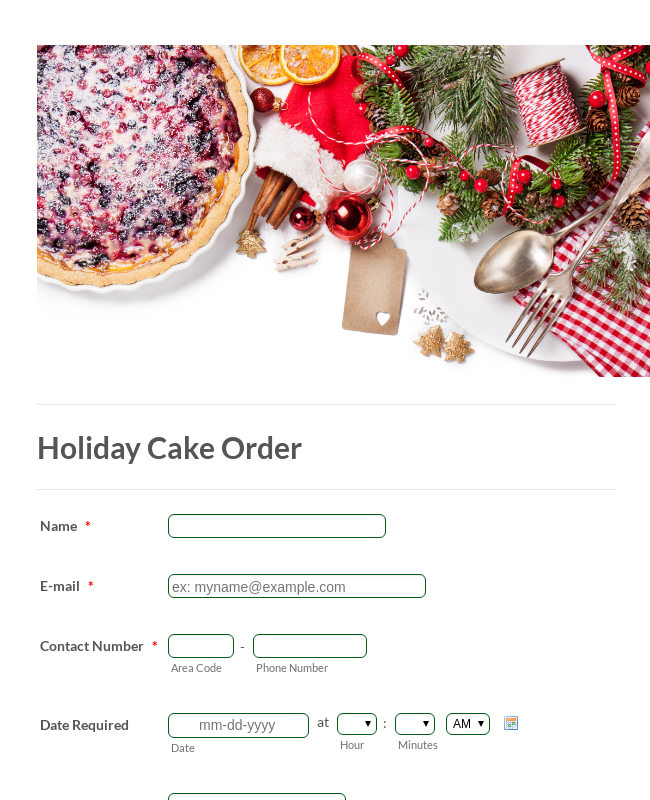 Holiday Cake Order Form