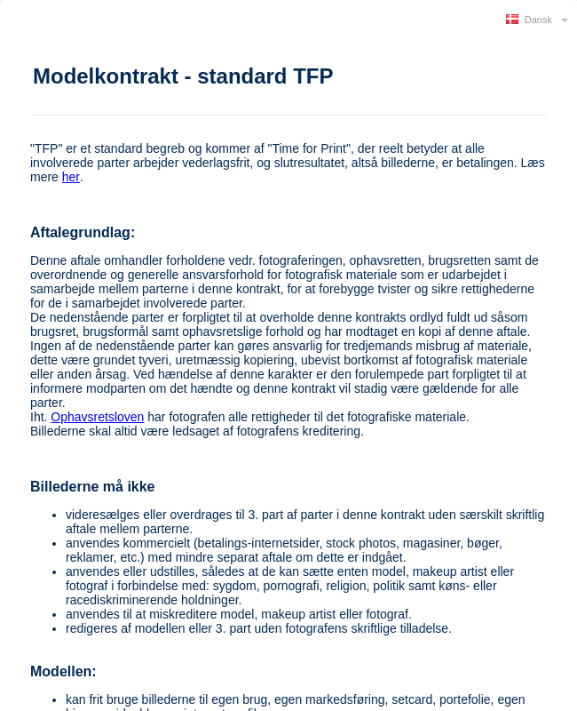 TFP Model Kontraktform