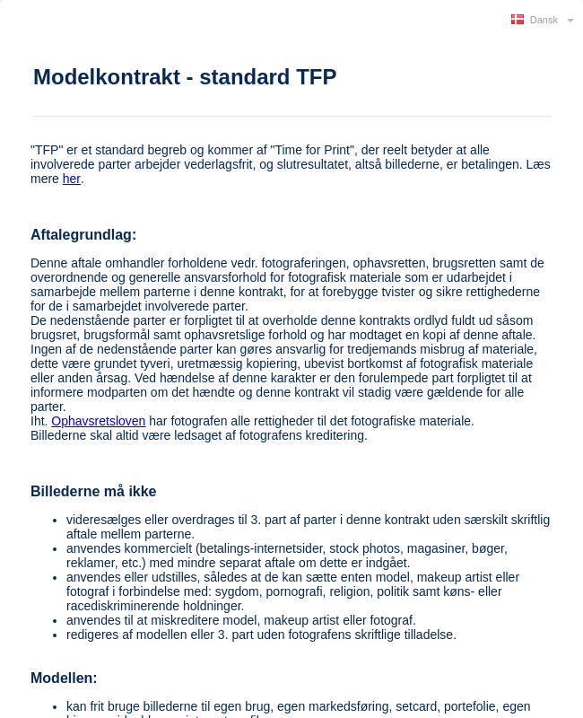 TFP Modelkontrakt   Dansk