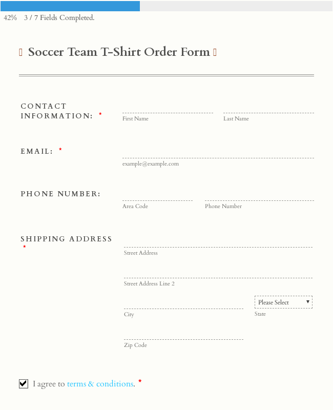 Soccer Team T-Shirt Order Form