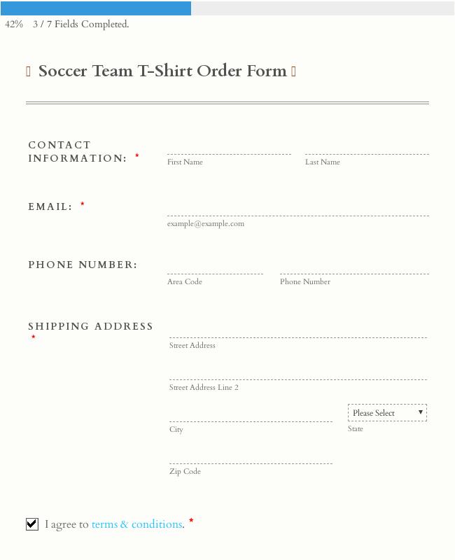 Soccer Team T-Shirt Order Form